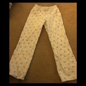 Jumping Bean Pants White with Gray Sparkle Hearts